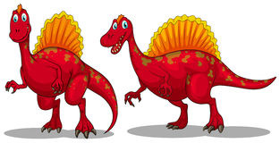 Red dinosaurs with sharp teeth Royalty Free Stock Images