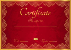 Red Diploma / Certificate background with border Stock Photos