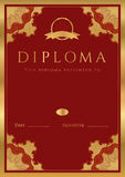 Red Diploma / Certificate background with border Stock Photography
