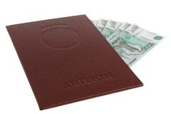 Red diploma of higher education and money. On white background Stock Images
