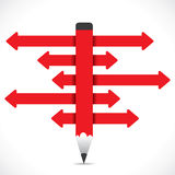 Red directional arrow pencil Stock Photo