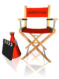 Red director chair. With clapboard and megaphone, over white background Royalty Free Stock Image