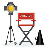 Red director chair. Film directors chair with megaphone, projector, camera and clapboard. Work on the set of the film. Flat vector cartoon illustration. Objects Royalty Free Stock Images