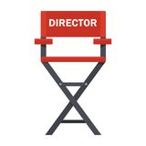 Red director chair. Film directors chair with megaphone, projector, camera and clapboard. Work on the set of the film. Flat vector cartoon illustration. Objects Stock Images