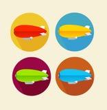 Red dirigible balloon flat icon set.Vector Royalty Free Stock Photos