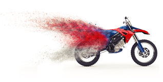 Red Dirt Bike - Particles. Isolated on white background Stock Photos
