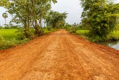 Red Dirt Road Going through Green Field in a Countryside Stock Photo