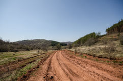 Red dirt road. Long red dirt road between the hills and forests Stock Photo