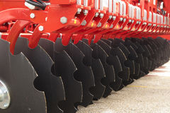 Red Disc Harrow Trailer for a Farming Tractor Royalty Free Stock Photography