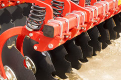 Red Disc Harrow Trailer for a Farming Tractor Royalty Free Stock Photos