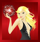 Red disco ball-blond Royalty Free Stock Photos