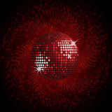 Red disco ball and halftone Royalty Free Stock Image