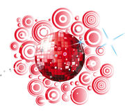 Red disco globe. With circles background and stars Stock Image