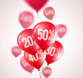 Red discount balloons vector design. Flying red balloons with 50 percent off Royalty Free Stock Photos