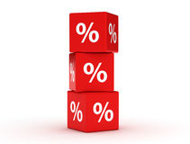 Red discount cubes. Sale concept. 3d renderer image. Red discount cubes. Sale concept on white background Stock Photo
