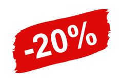 Red Discount Label 20 Percent - Brushstroke Set - Vector Illustration Isolated On White. Background Stock Photos