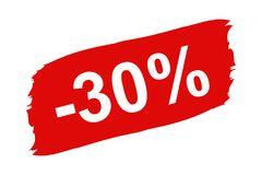 Red Discount Label 30 Percent - Brushstroke Set - Vector Illustration Isolated On White. Background Royalty Free Stock Photo