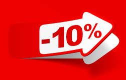 Discount 10 percent - stock vector. Red discount 10 percent - stock vector Royalty Free Stock Photos