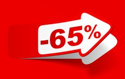 Discount 65 percent - stock vector. Red discount 65 percent - stock vector Stock Photos