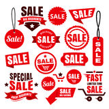 Red Discount Sale Tags, Badges And Ribbons Royalty Free Stock Photography