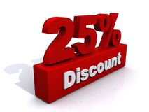 Red 25% discount sign. An illustration of a red 25% discount sign on a white background Stock Photos