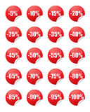 Red discount stickers. Set of red discount stickers Royalty Free Stock Photo
