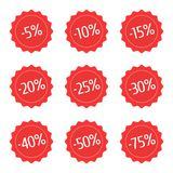 Red discount stickers set. Sale vector label icons for shop. Sales badge -5 , -10 , -15 , -20 , -25 -30 -40 -50 -75 Vector illustration in flat style EPS 10 vector illustration
