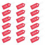 Red discount tags set. Sale red labels set. Discount price tags for web or print. Vector illustration EPS 10 Stock Image