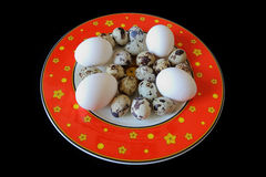 Red dish with hen and quail eggs Royalty Free Stock Photos