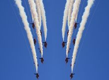 Red Display Mirror. The Red Arrows on display in cornwall summer 2006 stock photos