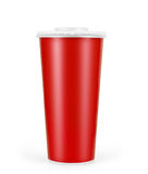 Red disposable paper cup isolated on white Royalty Free Stock Photography