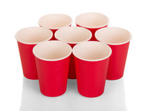 Red disposable paper cups isolated on white. Stock Photography