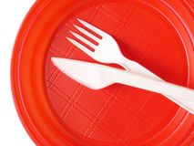 Red disposable plate Royalty Free Stock Images