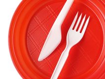 Red disposable plate Stock Image