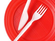 Red disposable plate Stock Images