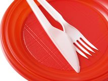Red disposable plate Royalty Free Stock Photo