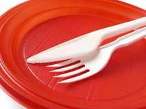 Red disposable plate Royalty Free Stock Photos