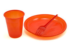 Red disposable tableware Stock Image