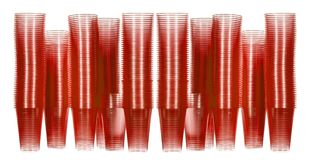 Red disposable water cups stacked. To look like a tower block Stock Photo