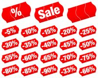Red Divided Price Tags Sale Minus. Set Of Red Divided Price Tags Sale Minus Different Percent stock illustration
