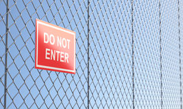 Red Do Not Enter Sign on Metallic Wire Mesh Fence vector illustration