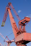 Red dockside crane Royalty Free Stock Images