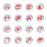 Red document icons. On grey buttons Royalty Free Stock Images