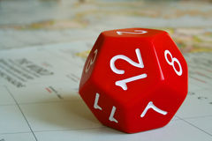 Red dodecahedron. Close-up of a red dodecahedron Stock Photo