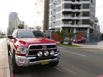 Red Dodge RAM pickup truck Heavy Duty in Lima. Lima, Peru. September 7, 2017. Red new Dodge RAM pickup truck 2500 Heavy Duty with big wheels parked in Miraflores royalty free stock photography