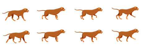 Red Dog Set. Icons with Fast Running Animals. Collection of icons with fast running dogs. Red angry animal with long tail. Animation picture with different stock illustration