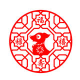 Red dog zodiac in circle frame symbols and China Word & x28;Blessing,Emolument,Longevity,Happiness& x29;  vector design. Red dog zodiac in circle frame Royalty Free Stock Images