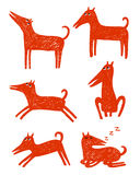 Red dogs doodles. Vector red dogs hand drawn doodles stock illustration