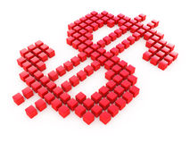 Red dollar from cubes Royalty Free Stock Image