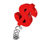 Red dollar currency symbol on spring. business success. Concept 3d render illustration Stock Photography